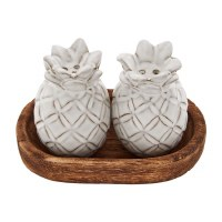 """3"""" White Terracotta Pineapple Salt & Pepper Shakers With Oval Wood Tray"""