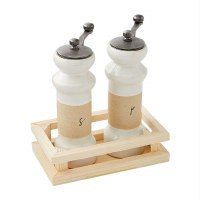 """6"""" White and Tan Salt & Pepper Grinders With Wood Tray"""