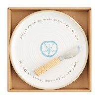 """9"""" Round White and Blue Sand Dollar Cheese Plate With Spreader by Mud Pie"""