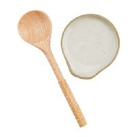 """5"""" Round Stoneware Sand Dollar Spoon Rest With Water Hyacinth Wrapped Wood Spoon"""