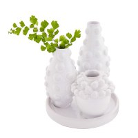 """7"""" Triple White Beaded Bud Vases With Tray"""