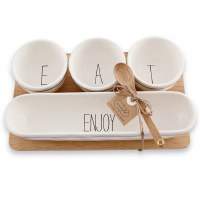 Eat and Enjoy Dip Bowl Set With Wood Spoon and Wood Tray by Mud Pie