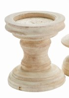 "7"" Whitewashed Chunky Wood Pillar Candle Holder"
