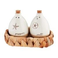 Beach Salt & Pepper Stoneware Set With Water Hyacinth Basket Holder