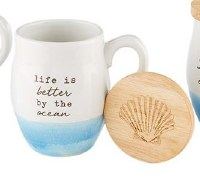11 oz White and Blue Life Is Better Stoneware Mug With Engraved Lid