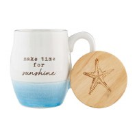 11 oz White and Blue Make Time For Sunshine Stoneware Mug With Engraved Lid