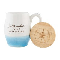 11 oz White and Blue Salt Water Stoneware Mug With Engraved Lid
