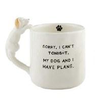12 oz White Ceramic My Dog and I Have Plans Mug With Dog Handle