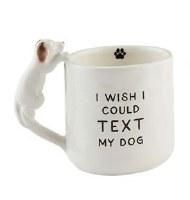 12 oz White Ceramic Text My Dog Mug With Dog Handle
