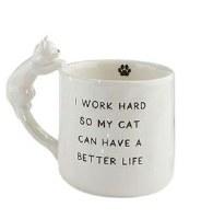 12 oz White Ceramic Work Hard Mug With Cat Handle