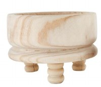 "14"" Round Natural Wood Bowl With Turned Pedestal Feet"
