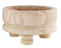 "11"" Round Natural Wood Bowl With Turned Pedestal Feet"