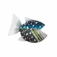 """27"""" Blue and Gray Metal Open Mouth Fish Right Wall Plaque"""