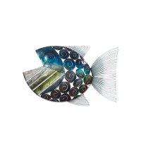 """27"""" Blue and Gray Metal Open Mouth Fish Left Wall Plaque"""