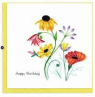 """6"""" Square Quilling Wildflower Birthday Blooms Greeting Card"""