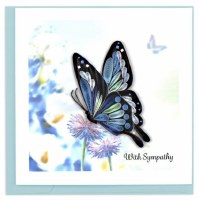 """6"""" Square Quilling Sympathy Butterfly Greeting Card"""
