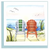 """6"""" Square Quilling Beach Adirondack Chairs Greeting Card"""