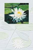 """8"""" x 5"""" Blue Damselfly Water Lily Sympathy Card"""
