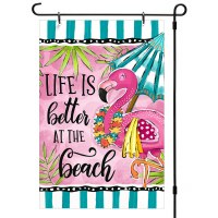 """13"""" x 18"""" Pink and Green Life Is Better At The Beach Flamingo Mini Garden Flag"""