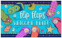 "18"" x 30"" Multicolor Flip Flops Welcome Here! Doormat"