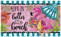 "18"" x 30"" Pink and Green Flamingo Life Is Better At The Beach Doormat"