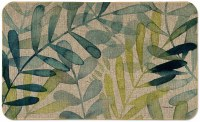 "18"" x 30"" Green and Beige Gossamer Palm Floor Mat"