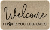 "18"" x 30"" Beige and Black Welcome I Hope You Like Cats Floor Mat"