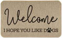 "18"" x 30"" Beige and Black Welcome I Hope You Like Dogs Floor Mat"