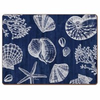 """12"""" x 16"""" Navy and White St. Tropez Shells Hardboard Placemat"""