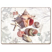 "12"" x 16"" White and Tan Sundrenched Shells Hardboard Placemat"