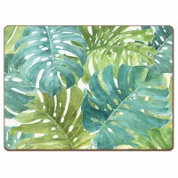 "12"" x 16"" Green Tropical Leaves Hardboard Placemat"