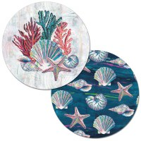 "14"" Round White and Blue Jewels Of The Sea Reversible Placemat"