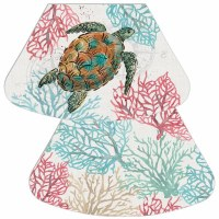 "17"" x 12"" Multicolor Ocean Finds Reversible Wedge Placemat"