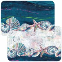 "11"" x 17"" Blue and White Jewels Of The Sea Reversible Placemat"