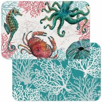 "11"" x 17"" Multicolor Ocean Finds Aqua Coral Reversible Placemat"