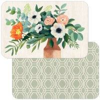 "11"" x 17"" Fresh Poppies Green Trellis Reversible Placemat"