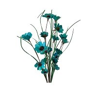 "Bunch of 6 36"" Teal Blue Poppy Flower Branches"