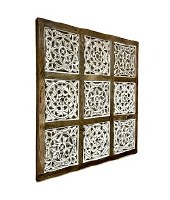 """36"""" Square Natural and Whitewashed Wood Nine Panel Wall Art"""
