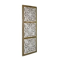 """40"""" x 14"""" Natural and Whitewashed Wood Openwork Square Trio Wall Panel"""