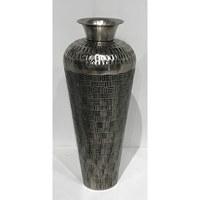 "23"" Silver Metal Checker Weave Vase"
