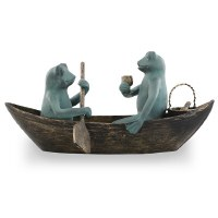 "21"" Verdigris and Bronze Metal Frogs Rowboat Picnic Sculpture"