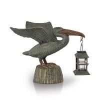 "11"" Verdigris Metal Pelican Holding a Candle Lantern"