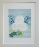 "16"" x 13"" White Sand Dollat and Sea Turtle White Framed Wall Art"