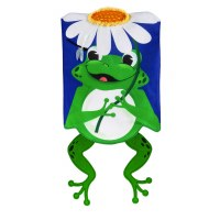 "13"" x 18"" Mini Shaped Frog With Daisy Burlap Garden Flag"