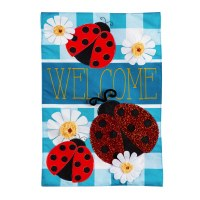 """13"""" x 18"""" Mini Blue and Red Ladybug Plaid Welcome Linen Garden Flag"""