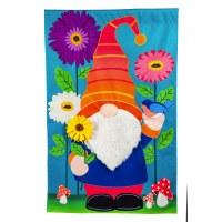 """13"""" x 18"""" Mini Flower Garden Gnome Linen Garden Flag"""