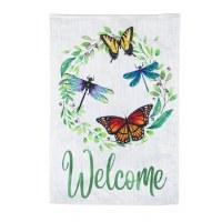 "13"" x 18"" Mini Butterflies and Dragonflies Welcome Garden Flag"