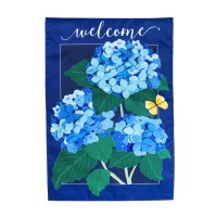 "13"" x 18"" Mini Blue Hydrangea Blossoms Welcome Garden Flag"