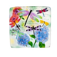 "17"" Square Multicolor Dragonfly Hand Painted Embossed Glass Bird Bath"