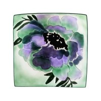 "17"" Square Purple and Green Geranium Hand Painted Embossed Glass Bird Bath"